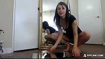 Hot brunette teen squirts on webcam