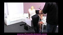 femaleagent stunning blonde is passed around on casting