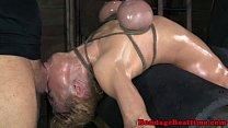 Restrained sub throatfucked