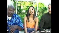 Sexy asian babe Nyomi Arman sucks and fucks