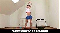 Amateur brunette doing naked sports