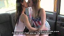 Lesbians tribbing in fake taxi in public porn videos