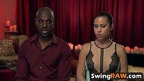 White and black couples having swinging fun