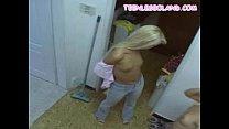 teens blonde Showering