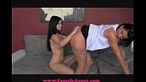 femaleagent shy beauty takes the bait