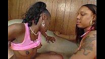 two ebony babes cinnamon and jazmyne sky sharing cock