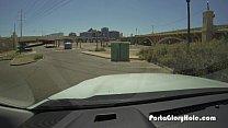 Porta Gloryhole girl swallows cum under a bridge porn videos