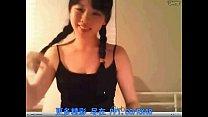 webcam por depilada, trenzas, de asiatica Teen