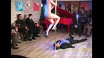 Totally naked Bar dance on guy's face