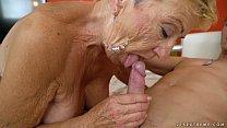 Old granny fucks the young mechanic - Lusty Gra...