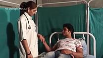 Hindi Lady doctor Shruti bhabhi romance with patient boy in blue saree hot scene thumbnail
