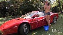 Czech babe Gina in exotic car wash scene