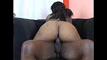 Big black cock nails a big tits ebony on the chair
