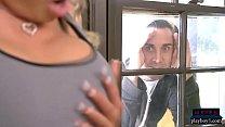 Stepmom MILF Briana Banks oral sex and kitchen fuck thumbnail