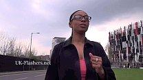 Ebony amateur babe Melanies public flashing and...