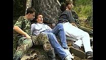 lewd military guys seduce sweet civil boys outdoors