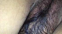 Hairy wife in black bra & tight asshole enjoyin...