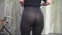 Sexy big ass in transparent lycra leggings tigh...