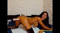Dildo-machine makes a brunette cum porn videos