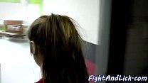 Lesbian babes scissoring and wrestling