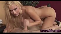 Hot blonde gives a big pleasure