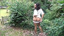 Flashing ebony milf Mels black public nudity an...