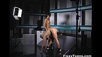 Two girls posing for nude gymnastics photo shoo...
