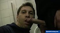 str8 man serviced in a restroom – Free Porn Video