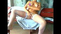 Jordan Faye in white stockings using her purple...