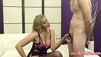 Milf Julia Ann Makes Slave Cum on Her Stockings...