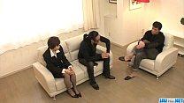 Office threesome along Akina Hara porn videos