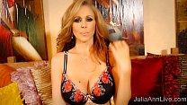 superstar milf julia ann in red high heels masturbating