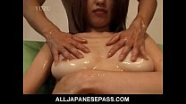 Busty Aya Kurosaki enjoys her body being oiled up