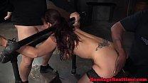 Bigtitted redhead sub spitroasted in bdsm mmf porn videos