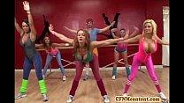 Cfnm action at yoga class with Raquel porn videos