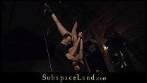 Ballgagged bondage damsel leather punishment un...