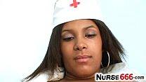 Ebony girlie Manuela wears latex uniform and st...