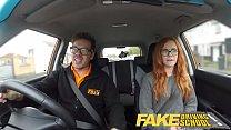 Fake Driving School readhead teen and busty MILF creampie porn videos