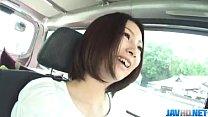 Ran Minami gets to suck cock while in a car porn videos