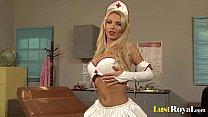 Amazing Nikki Benz enjoys rubbing semen on breasts