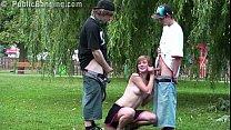 cute teen alexis crystal aka anouk public street gangbang threesome