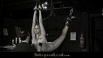 Slave mouth disciplined with cumshot after bond...