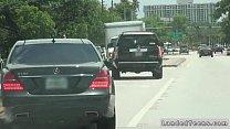 Teen hitchhiker bangs in car in public