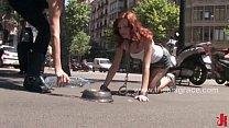Beautiful Spanish redhead Justine fucked on the streets