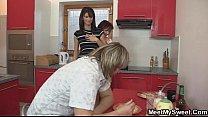 Mom seduces her son's GF into threesome porn videos
