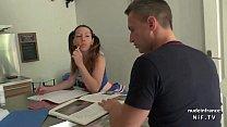 Pretty amateur french brunette student in uniform sucks her teacher's cock porn videos