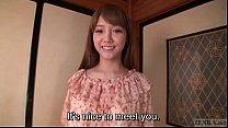 Subtitled Japanese AV star Rei Mizuna striptease to nudity porn videos