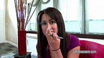 Cute coed Missy Vega is giving a handjob
