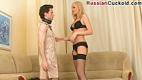 Russian Cuckold - sucks dick her lover