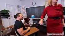 Busty Plump Teacher fucks students in detention